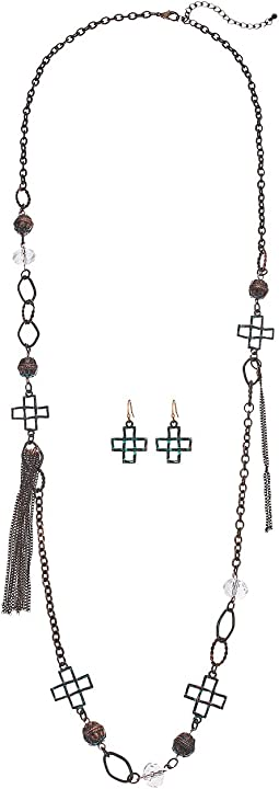 Multi Cross & Tassel Necklace/Earrings Set
