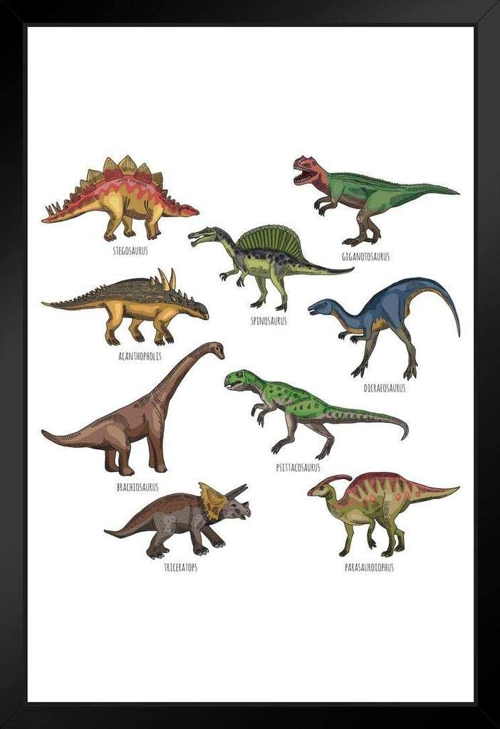 P/óster de dinosaurio vintage con dise/ño de dibujos animados