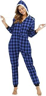 gjf Pijamas Entero con Capucha de Cuadros de Algodón Puro para Mujer Pijamas de Casa con Cremallera(Color:Azul,Size:Medio)