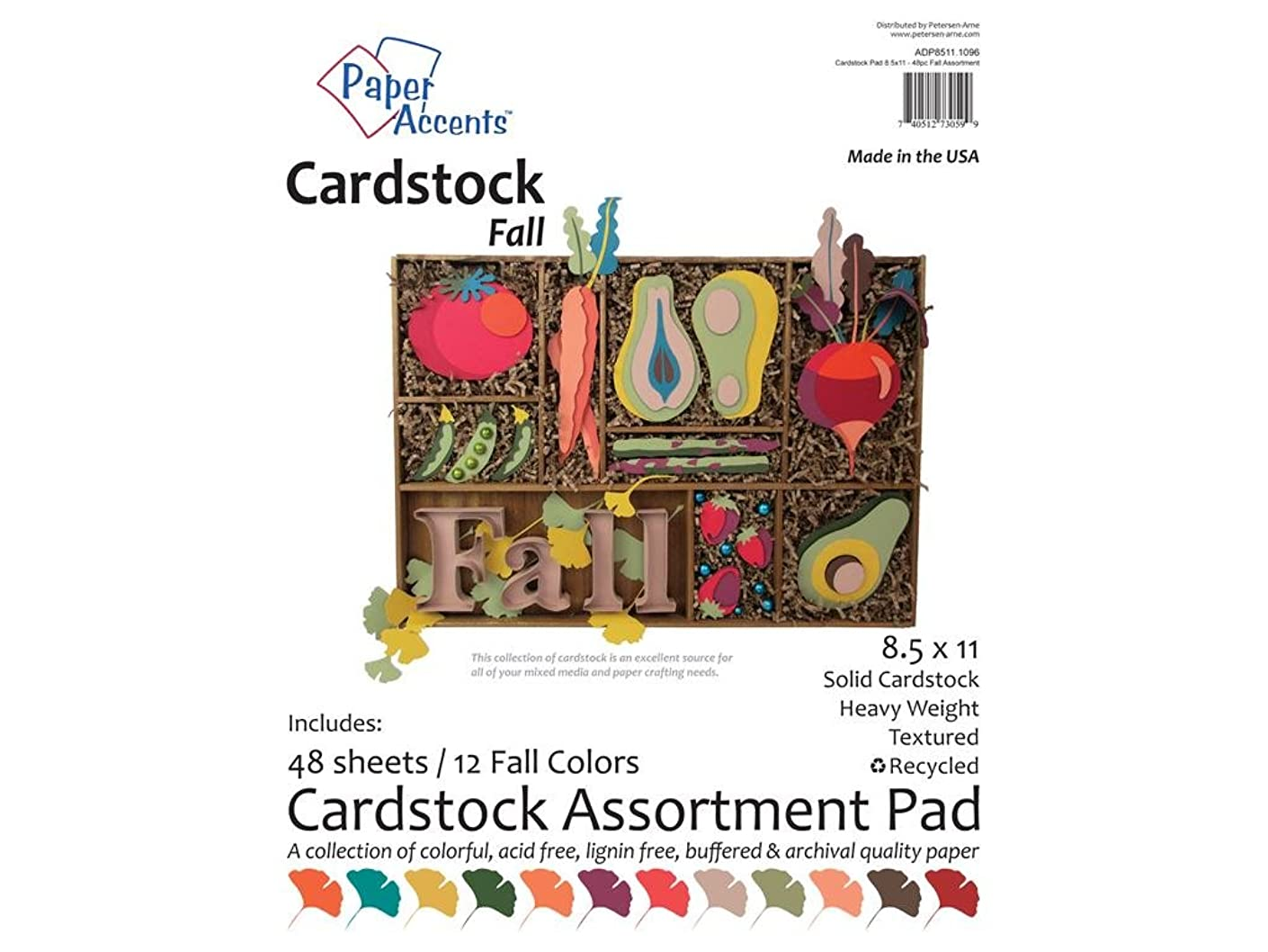 Accent Design Paper Accents Cdstkt Cardstock Pad 8.5x11 48pc Fall Assortment