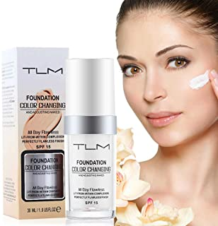 Moonbiffy 30ml TLM Flawless Color Changing Liquid Foundation Makeup Change To Your Skin Tone By Just Blending