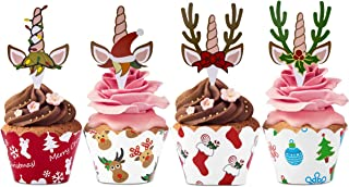 Christmas Unicorn Reindeer Cupcake Topper and Wrappers Kit- 24pcs Unicorn Cake Toppers and Wrappers, Unicorn Birthday Baby Shower and Wedding Party Dessert Decorations
