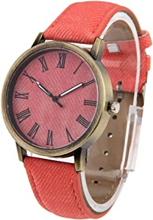 Quartz Watch with PU Leather Band Denim Texture Style Round Dial Retro Digital Display Women & Men
