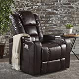 Christopher Knight Home Emersyn Tufted Fabric Power Recliner with Arm Storage and USB Cord, Brown / Black