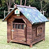 ASUNXL Outdoor Dog Kennel Wooden Dog House, Extra Large Insulated Wood Dog Kennel The Perfect Wood Home for Any Dogs Or Cats, Breathable Comfortable, with Rain Cover, Cotton Pad, Summer Mat,XXL