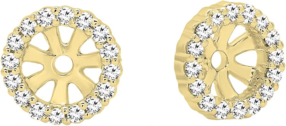 Dazzlingrock Collection 0.16 Carat (ctw) Round White Diamond Ladies Halo Removable Jackets for Stud earrings, Available in 10K/14K/18K Gold