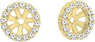 0.16 Carat (ctw) Round Diamond Ladies Halo Removable Jackets for Stud earrings, 10K Gold