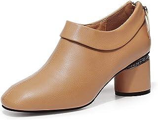 [THLD] 革靴 パンプス セクシー モダン ファション 美脚 細身 スクエアトゥ 通勤 学生 通学 太めヒール 6cm 疲れにくい 美脚 黒 カーキ ショートブーツ オックスフォード キャリア