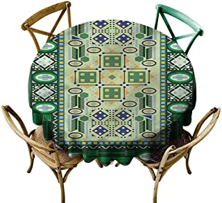 UETECH Microfiber Round Tablecloth Afghan,Oriental Shapes Pattern Wrinkle Free Tablecloths Diameter 50