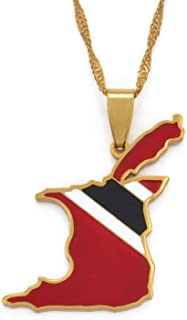 Pendant Necklaces - Trinidad and Tobago Map Flag Pendant and Necklace Gold Color Trendy Ethnic Jewelry Gift #098521 1 PCs