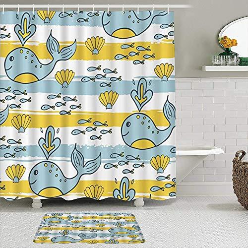 SUDISSKM de alfombras de baño con Cortinas de Ducha Alfombrillas de baño Antideslizantes Impermeables Conjuntos,Pintura Infantil de Rayas de Algas Marinas de Escuela de Peces de Vida Marina Ab