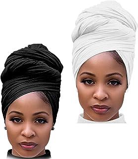 DRESHOW Envoltura de Cabello para Mujeres Negras Pañuelo de Cabeza Estirable de Mujeres Turbante Largo Envoltura de Cabeza...
