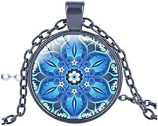 vdfr521ブルーカレイドスコープネックレス曼荼羅フラワーヨガジュエリー幾何花柄Cabochonネックレスギフト