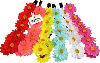MSHUI Hippies Sun Flower Garland Crown Festival Hair Wreath Floral Headband Set