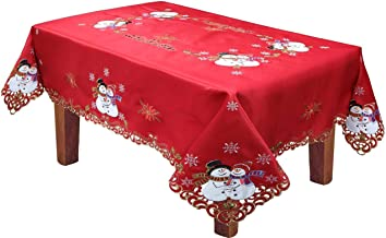 Creative Linens Holiday Christmas Tablecloth 70x140 with 12 Napkins Embroidered Snowman Snowflake Poinsettia Winter Table Linen Rectangular Red Gold