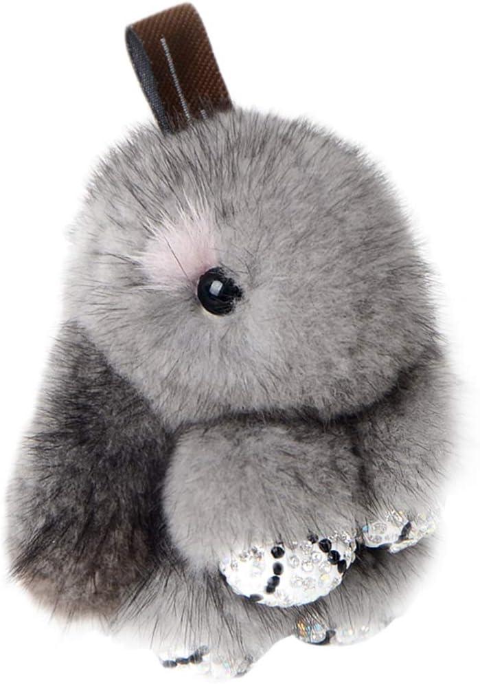 BESPORTBLE Rabbit Keychain Soft Cute Rex Rabbit Fur Keychain Plush Pom Pom Car Handbag Keyring Bag Charms Pendant Random Color