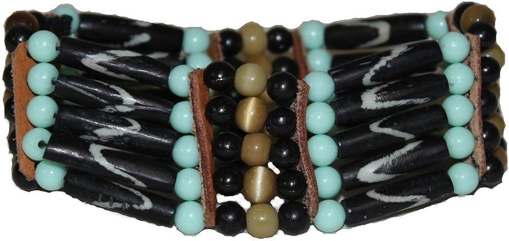 Ushkiran - Festival Black Bone Cuff Bracelet - Mint Green/Brown/Black