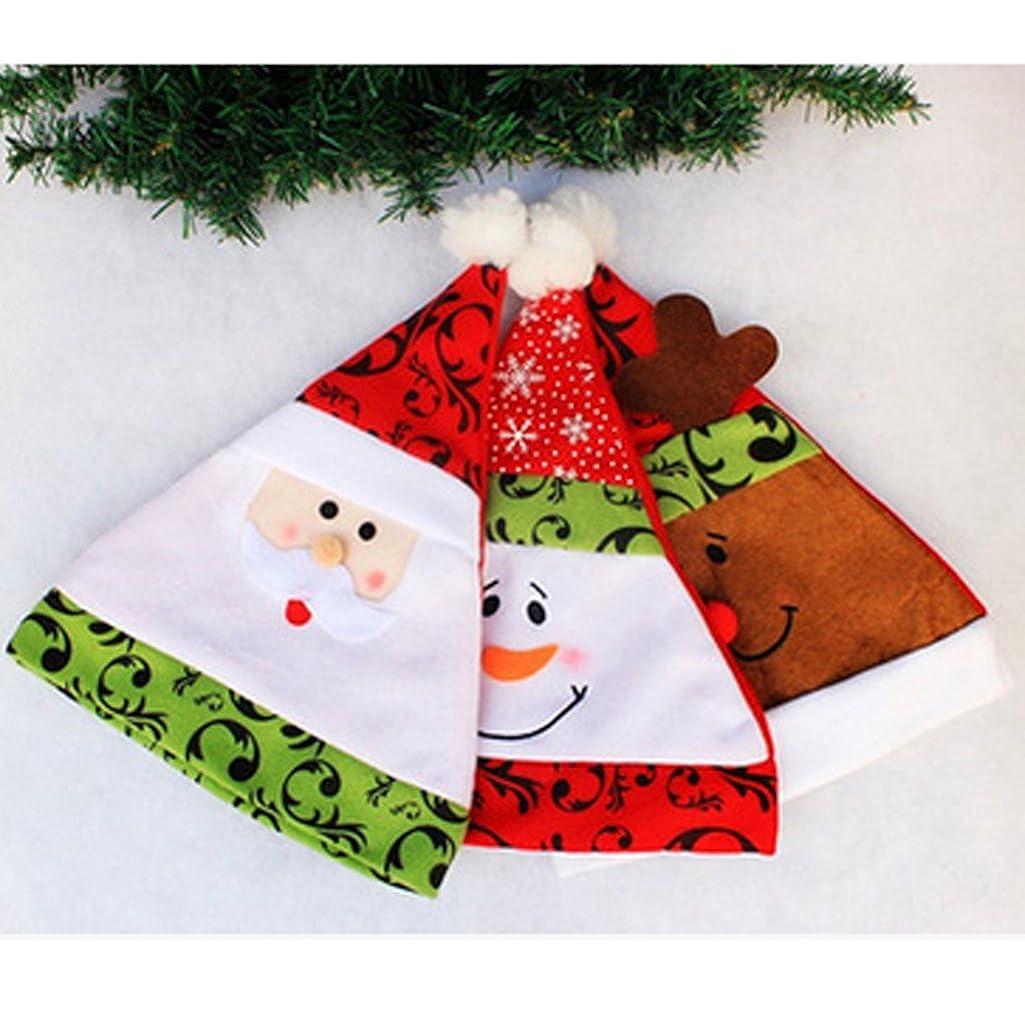 天才訴えるシェルタークリスマス フラット 刺繍 サンタ帽子 ハット トナカイ スノーマン柄 ファブリック クリスマスお祝い 道具 全3パターン  - パターン3