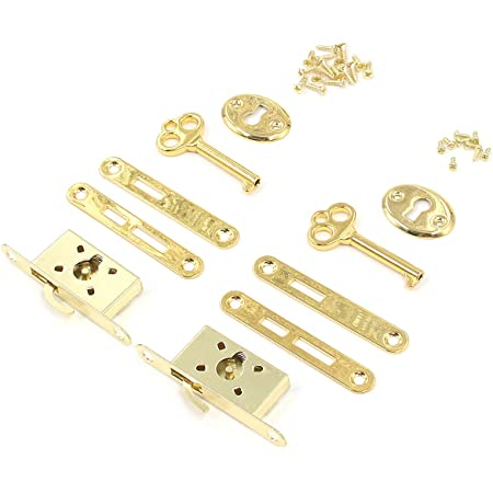 """Karcy Box Lock Karcy Small Jewelry Box Lock Gold Plated Half Mortise 2.2x0.75"""" Gold Iron Pack of 2"""