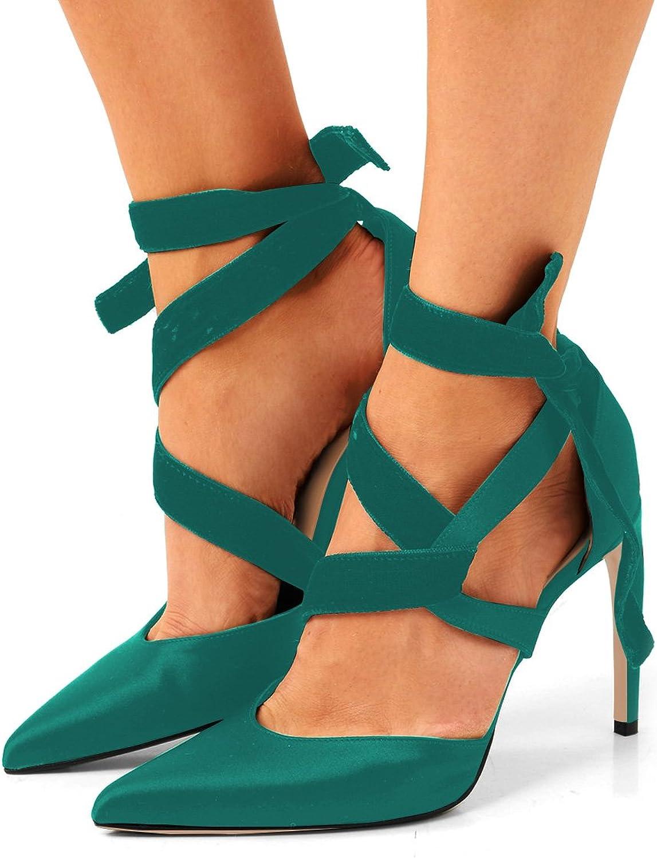 FSJ Women Fashion Satin Pointy Toe Pumps Stilettos Heels Sandals Ankle Wrap Dancing shoes Size 4-15 US