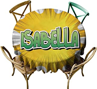 Wendell Joshua Round Tablecloth 48 inch Isabella,American Birth Name on Retro Style Fun Cartoon Backdrop Poster Design,Yellow Green and White Printed Indoor Outdoor Camping Picnic Circle Table Cloth