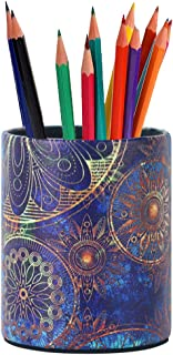 LIZIMANDU PU Leather Pencil Pen Holder,Round Pencil Cup Stationery Desk Organizer Control Storage Box for Home Office Bedr...