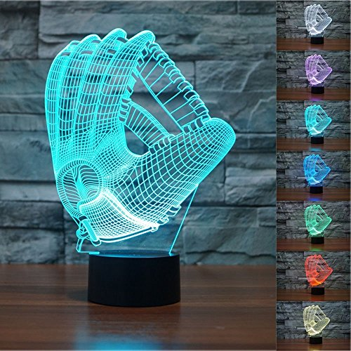 Amazing 7 Colors Optical Illusion 3D Baseball Lamps,Glow Lighting Nightlight Room Decor Table Lamps (Baseball Gloves)