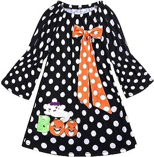 MeterMall Children Long Sleeve Girls Halloween Dress Polka Dot Pumpkin Dress LYQ1364N Orange dot Bow 90 Halloween Decoration