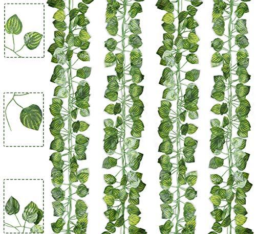 Boic 12 Piezas Plantas Hiedra Artificial Decoración Interior y Exterior Colgante Guirnalda Hiedra Artificial Vine para Hogar Boda Escalera Ventana Balcón Valla Jardín Mesa Fiesta
