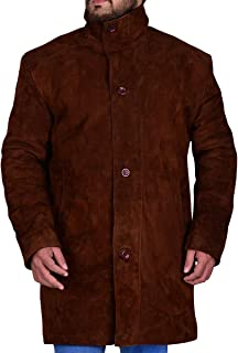 Trendhoop Men`s Fashion Brown Double Collar American Series Longmire Genuine Leather Brown Coat