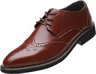 Rismart Men's Office Dress Brogue Leather Oxfords Shoes
