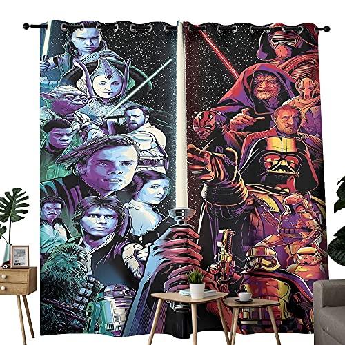 Cortinas correderas de vidrio para puerta de Star Wars The Last Jedi Scramble Póster adecuado para habitación y baño, 1 par de paneles de 84 x 63 pulgadas