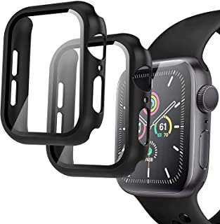 Compatible Apple Watch 44mm Case, 2 Pack Hard PC Case with Tempered Glass Screen Protector for Apple Watch Series 6 SE Ser...