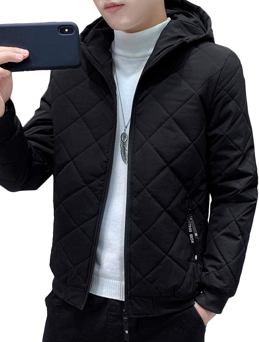 Jenkoon Men's Thermal Faux Fur Lined Quilted Puffer Hooded Jacket