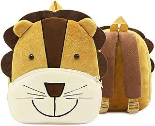 Mochila Infantil Kindergarten, Pequeño Linda Mochilas para Guardería León Animales Design Suave Mochila de Felpa para Bebe Niños Niñas 2-4 Años
