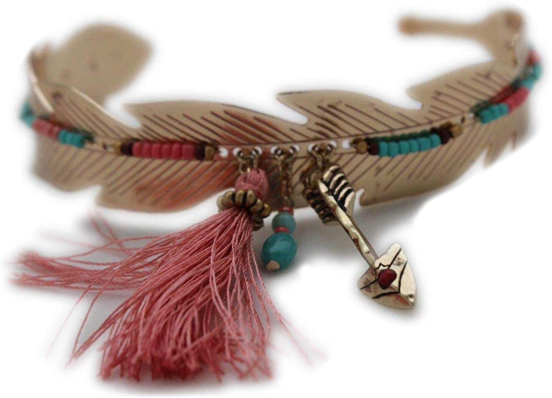 TFJ Women Fashion Jewelry Gold Metal High Upper Arm Leaf Cuff Bracelet Elastic Band Arrow Beads Fabric Fringes