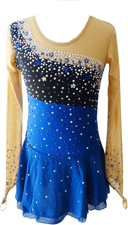 LIUHUO bluee Figure Ice Skating Dress Splicing Long Sleeve Beaded Roller Skating Dress