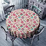 ScottDecor Nappe de table ronde pour restaurant - Motif sucre d'orge - Multicolore - Diamètre : 128 cm