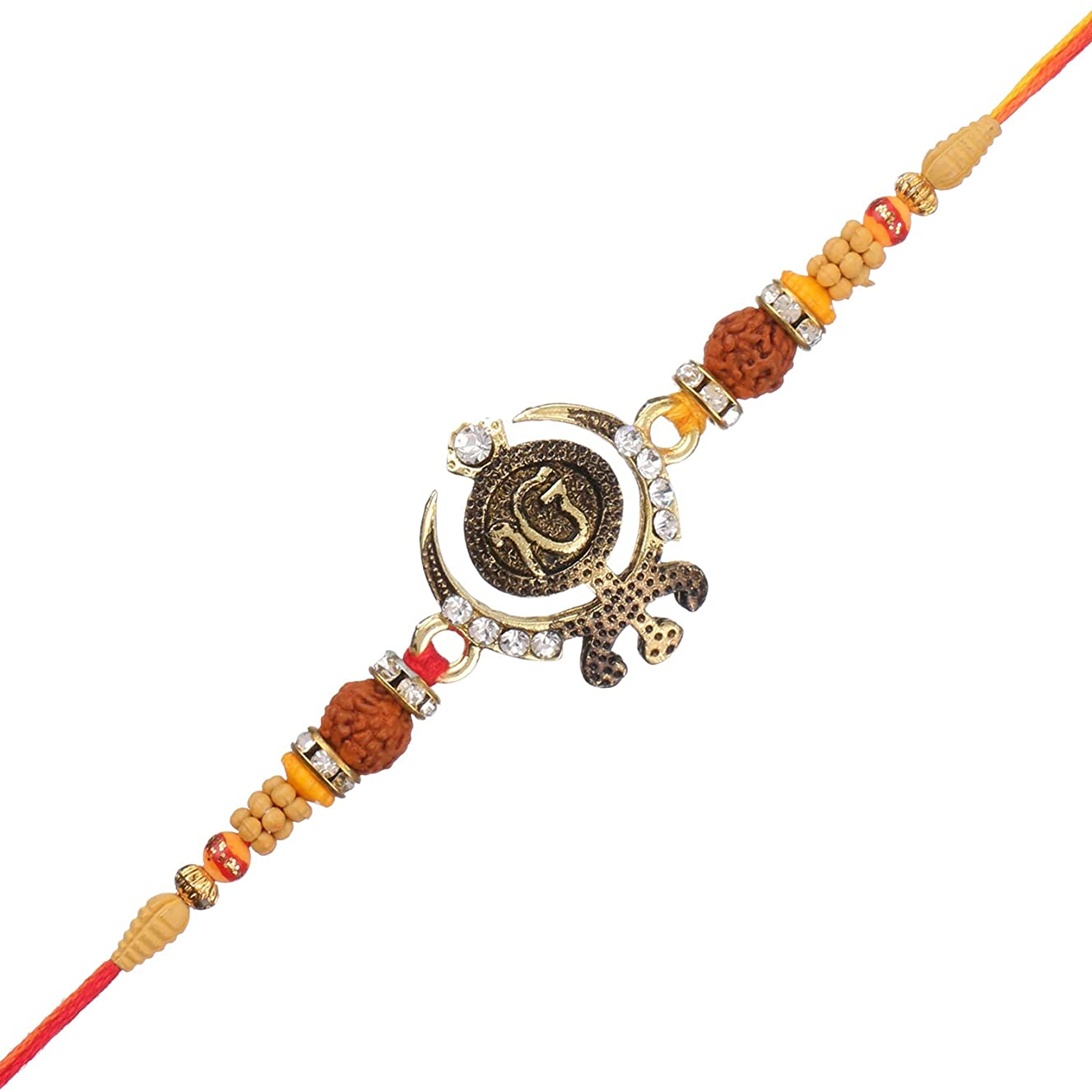 Raksha Bhandan Handmade Ik Onkar Rakhi Thread Bracelet with Stones Work Kundan Design Rakhi for Brother Bhaiya Celebration of Hindu Festival