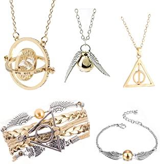 5PCS Harry Potter Necklace Set Time Turner Golden Snitch Deathly Hallows for Harry Potter Fans Gifts Collection Jewelry Gift
