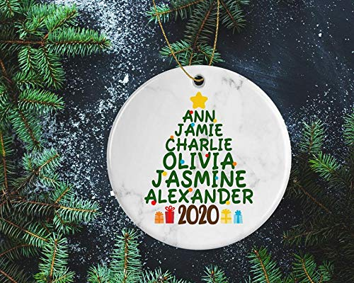 Decorations Personalized Christmas Tree Ornament with Names - Unique for Grandma, Family, Friends Items Handmade Decorative Wall Art for Christmas and Holidays