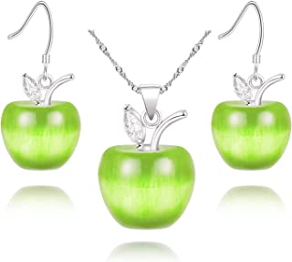 Apple Necklace and Earrings Set for Women Girls Cute Apple Jewelry Set for Teacher Mom YL007