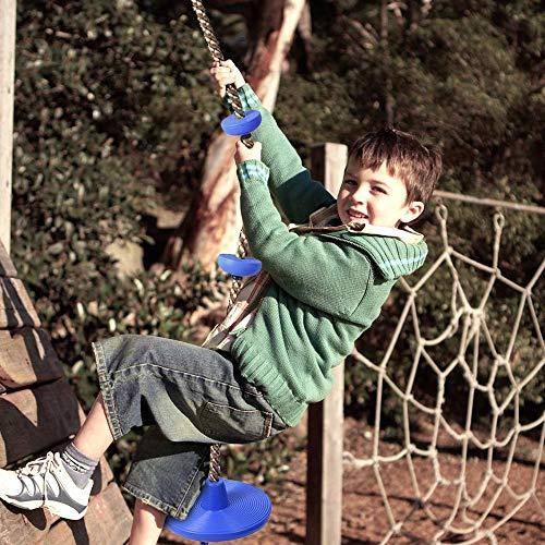 Wankd Kletterseil für Kinder, Kletterseil mit Knoten, Kinder Klettern Schaukel Schaukelseil mit Sicherheit Basis Sport Spielzeug Combo Set (Blau)