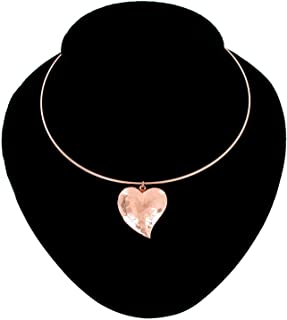 Collar Necklace Rose Gold Tone Hammered Puffy Heart Necklace For Women