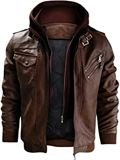 F_Gotal Men's Vintage Casual Stand Collar Faux Leather Zip-Up Motorcycle Bomber Jacket with a Removable Hood