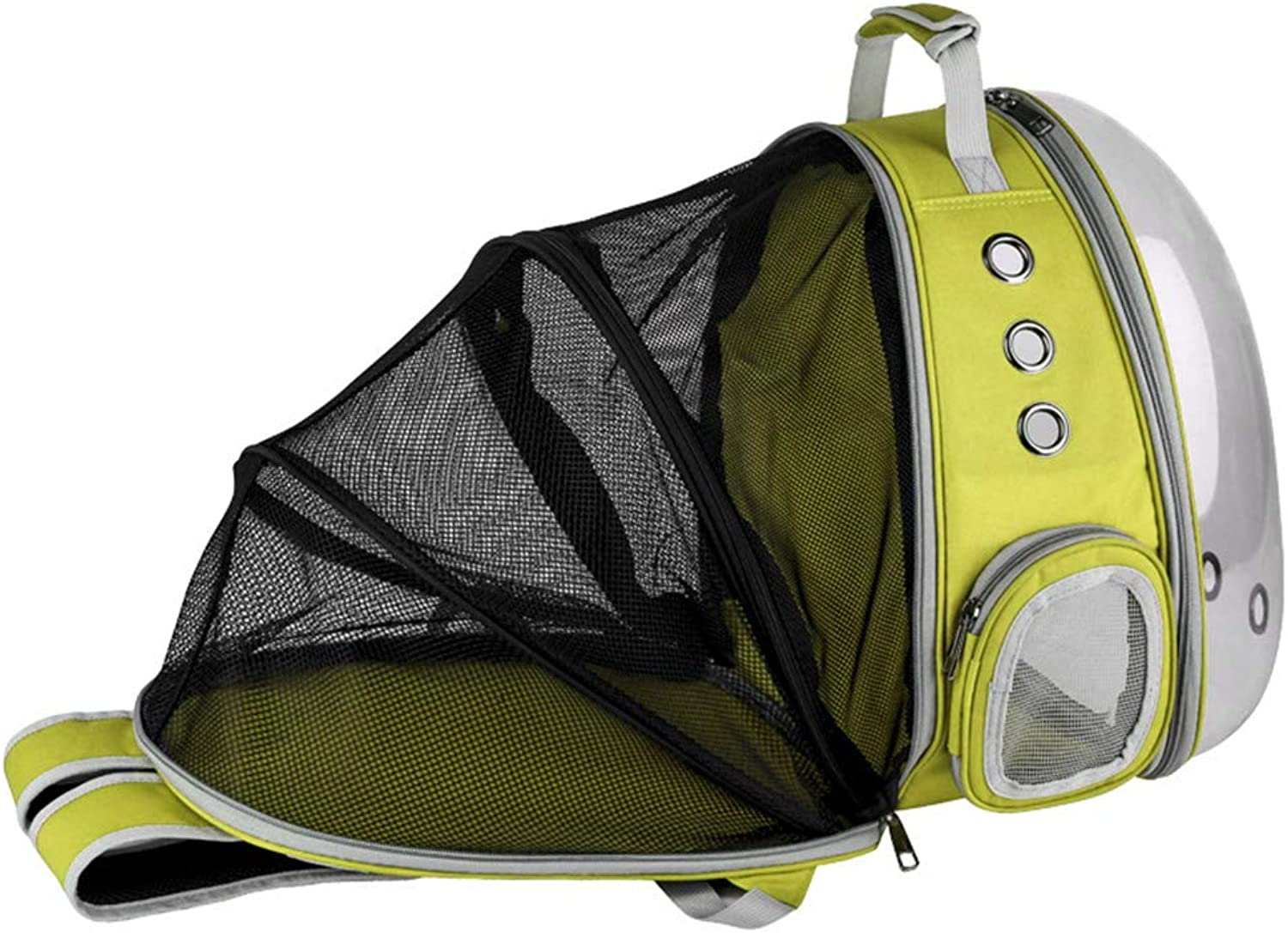 Outdoor Pet Breathable Space Capsule Backpack Side Zipper Opening Portable Transparent Cat Dog Cage Puppy Travel Carrier Bag(Yellow)