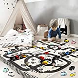 Alecony Baby City Road Play Carpet, Children Waterproof Racing Adventure Playmat, Crawling Mat for Toddler, Kid's Playroom Blanket,Traffic Sign Car Tree Rug, Parent-Child Interactive Game Map