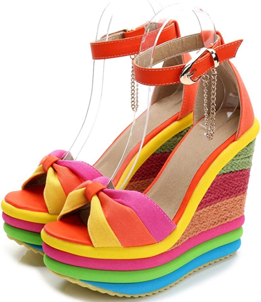 Saichi Fish Mouth Wedge Sandals Direct store Heel Colorful High Sand Max 42% OFF Platform