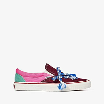 Vans Classic Slip-On ((Frayed Laces) Multi/Marshmallow) Athletic Shoes