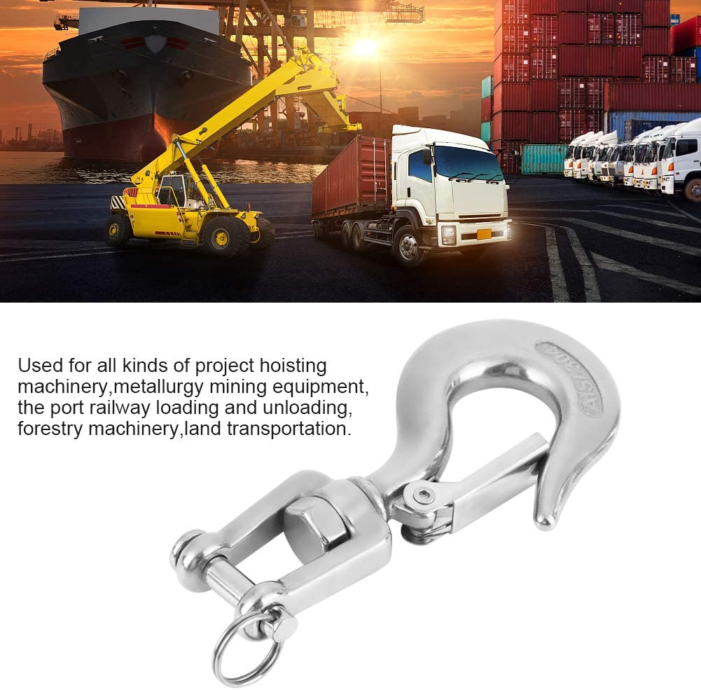 304 Stainless Steel Slip Hook Swivel Eye Lifting Hook Safety Hook Rigging Accessory with Latch Working Load 650kg//1000kg 650kg